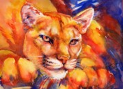 Summer Celeste Painting Posters - Mountain Lion Red-Yellow-Blue Poster by Summer Celeste