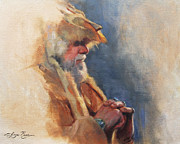 Hide Paintings - Mountain Man by Anna Bain