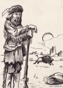 Buffalo Drawings Prints - Mountain Man Print by Cristophers Dream Artistry