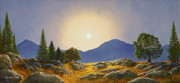 Watercolor And Gouache Paintings - Mountain Meadow In Moonlight by Frank Wilson