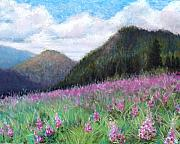 Blue Flowers Pastels - Mountain Meadow by Susan Jenkins