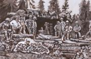 Miners Paintings - Mountain Miners Historical Vignette by Dawn Senior-Trask