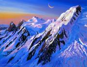 Rockies Paintings - Mountain Moon Summit by David Lloyd Glover