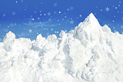 Mountain Weather Framed Prints - Mountain of snow Framed Print by Sandra Cunningham