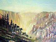Yosemite Painting Framed Prints - Mountain of The Horses 1989 Framed Print by Wingsdomain Art and Photography