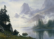 Bierstadt Painting Posters - Mountain out of the Mist Poster by Albert Bierstadt