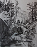 Creek Drawings - Mountain Peace by Michael Brennan