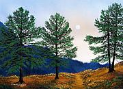 Moonlight Paintings - Mountain Pines by Frank Wilson