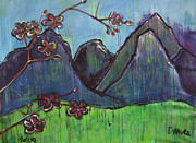 Cherry Blossoms Painting Prints - Mountain Pose Print by Laurie Maves