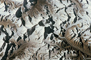 Bizarre Color Posters - Mountain Range On Earth Viewed From Space Poster by Stockbyte