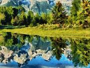 Mountain Reflections Print by Russ Harris