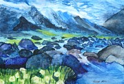 Ruff Painting Metal Prints - Mountain River Metal Print by Anna  Henderson