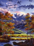 Mountains Painting Posters - Mountain River Valley Poster by David Lloyd Glover