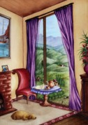 Teapot Painting Posters - Mountain Scene Seen Through a Window Poster by Evelyn Sichrovsky