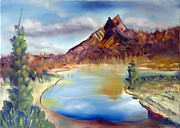 Mountain Scene With Lake Print by Miriam Besa