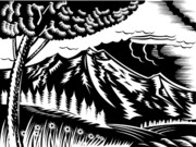 Nature Artwork Posters - Mountain scene woodcut Poster by Aloysius Patrimonio