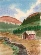 Gravel Road Paintings - Mountain Shed by Jeanette Lindblad