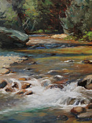 Rapids Painting Framed Prints - Mountain Stream Framed Print by Anna Bain