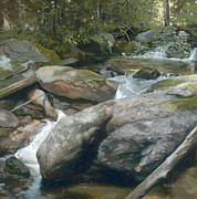 Green Day Painting Prints - Mountain Stream Print by Duane Wolford