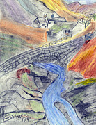 Bridge Drawings - Mountain Stream by John Hoppy Hopkins