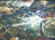 Pouring Paintings - Mountain Stream by Len Stomski