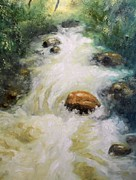 Colorado Mountain Stream Paintings - Mountain Stream by Richard Nervig