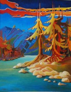 Spirit Trees Painting Metal Prints - Mountain Stream Metal Print by Santo De Vita