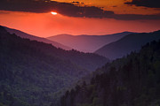 Great Smoky Mountains Prints - Mountain Sunset Print by Andrew Soundarajan
