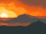 Exotic Digital Art - Mountain sunset by Pixel  Chimp