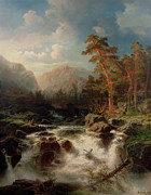 Signed . Nature Paintings - Mountain Torrent Smaland by Marcus Larson