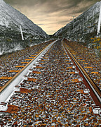 Train Digital Art Originals - Mountain Tracks by James Steele