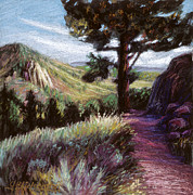 Hiking Pastels Posters - Mountain Trail Poster by Gina Blickenstaff