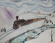 Snow-covered Landscape Painting Prints - Mountain Travels Print by Carolyn Ardolino