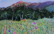Purple Flowers Pastels - Mountain Trees and Flowers by Emily Michaud