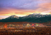 Slide Prints - Mountain Twilight of Reno Nevada Print by Vance Fox