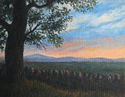 Stonewall Painting Metal Prints - Mountain View Sunset Metal Print by Oksana Zotkina