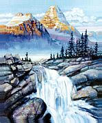 Mountain Painting Posters - Mountain Waterfall Poster by John Lautermilch