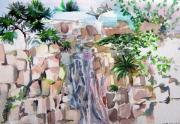 Cezanne Drawings Prints - Mountain Waterfall Print by Mindy Newman
