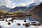 Snow Covered Mountains Prints - Mountains And Lake At Lake District Print by John Short