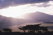 Natural Forces And Phenomena Prints - Mountains And Smoke, Ngorongoro Crater Print by Skip Brown
