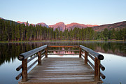 Park Scene Posters - Mountains Behind Sprague Lake Poster by Lightvision, LLC