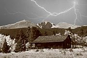 Lightning Photography Framed Prints - Mountains Cabin - Lightning - Longs Peak Framed Print by James Bo Insogna