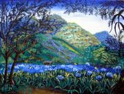 Nicaragua Paintings - Mountains in Blue by Sarah Hornsby