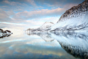 Cold Temperature Art - Mountains In Fjord by Sandra Kreuzinger
