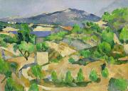 Azur Painting Prints - Mountains in Provence Print by Paul Cezanne