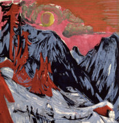 Red Sky Paintings - Mountains in Winter by Ernst Ludwig Kirchner