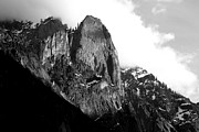 Fall Photos Posters - Mountains of Yosemite . 7D6167 . Black and White Poster by Wingsdomain Art and Photography