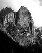 Snow On Mountains Framed Prints - Mountains of Yosemite . 7D6167 . Vertical Cut . Black and White Framed Print by Wingsdomain Art and Photography