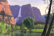 National Park Paintings - Mountains Waterfall Stream western mountain landscape oil painting by Walt Curlee