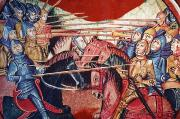 Lances Prints - Mounted Medieval Knights In Battle In Print by Ken Welsh